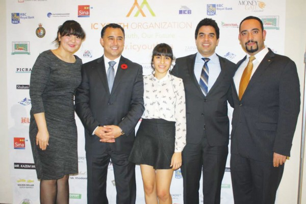 Left to right: Michael Parsa (second from left), Richmond Hill's Conservative candidate for the next federal election alongside youth volunteers Naazi and Shadi Mousavi Nia, of the Iranian-Canadian Youth Organization, Behrouz Amouzgar, co-founder of Iranian Canadian Legal Professionals and board member of the Iranian Canadian Congress (ICC), and Reza Ghazi, member of ICC's board of directors and former president of the Iranian-Canadian Network, at the organization's 8th annual fundraising gala.   Photo by Salam Toronto