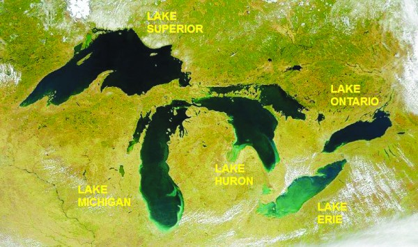 Consisting of Lakes Superior, Michigan, Huron (or Michigan–Huron), Erie, and Ontario, the Great Lakes form the largest group of freshwater lakes on Earth, containing 21% of the world's surface fresh water by volume. Lake Superior is the largest continental lake in the world by area, and Lake Michigan is the largest lake that is entirely within one country.