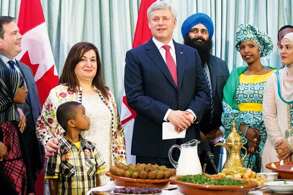 Prime Minister Stephen Harper, joined by Jason Kenney, Minister of National Defence and Minister for Multiculturalism, Tim Uppal, Minister of State (Multiculturalism), and Senator Salma Ataullahjan, delivers remarks at an Iftar reception at  24 Sussex Drive.  PMO photo by Jill Thompson