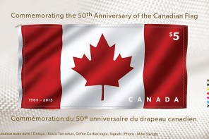 Fabric stamp from Canada Post honors Canadian flag's 50th anniversary