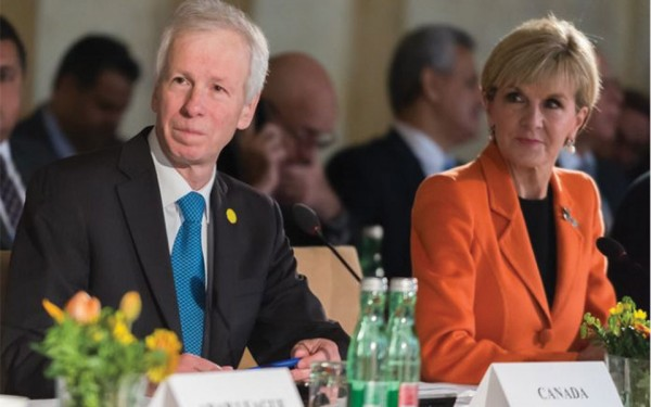 Foreign Minister Stephane Dion at the International Syria Support Group (ISSG) table in Vienna, Austria on Tuesday, May17, 2016. (Photo: Minister Dion's Twitter)