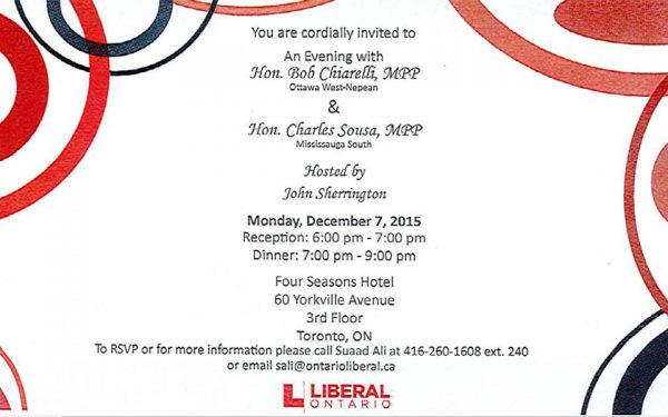 A copy of the invitation sent to invitees for the event.(Photo: Office of the Integrity Commissioner – Report of The Honourable J. David Wake Re: The Honourable Bob Chiarelli and The Honourable Charles Sousa)