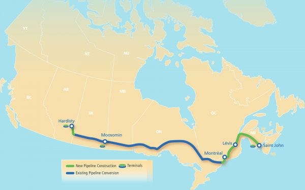 The route for Energy East Pipeline as of November 5, 2015.