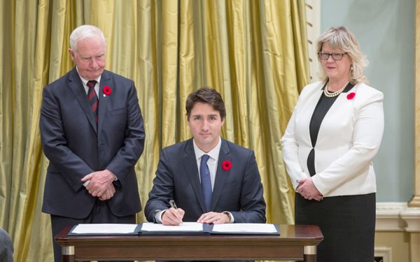 Justin Trudeau sworn in as the 23rd Prime Minister of Canada on November 4, 2015.