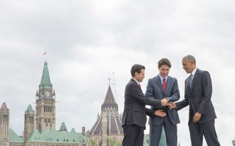 Prime Minister Trudeau meets with the US President Barack Obama and the President of Mexico, Enrique Pena Nieto, for the North American Leaders' Summit in Ottawa in June 2016.