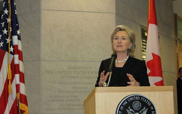Then Secretary of State Hillary Clinton visiting the U.S. Embassy in Ottawa on March 29, 2010.