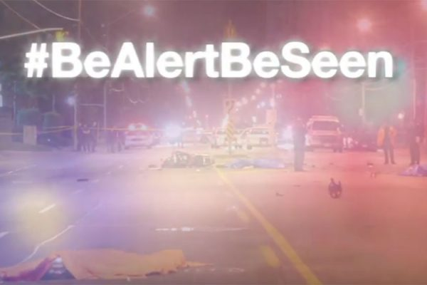 Screengrab from 'Be Alert Be Seen' video published by the Toronto Police Service.