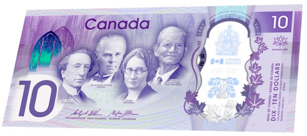 Canada 150 commemorative $10 note – Polymer series.    (Photo: Bank of Canada)